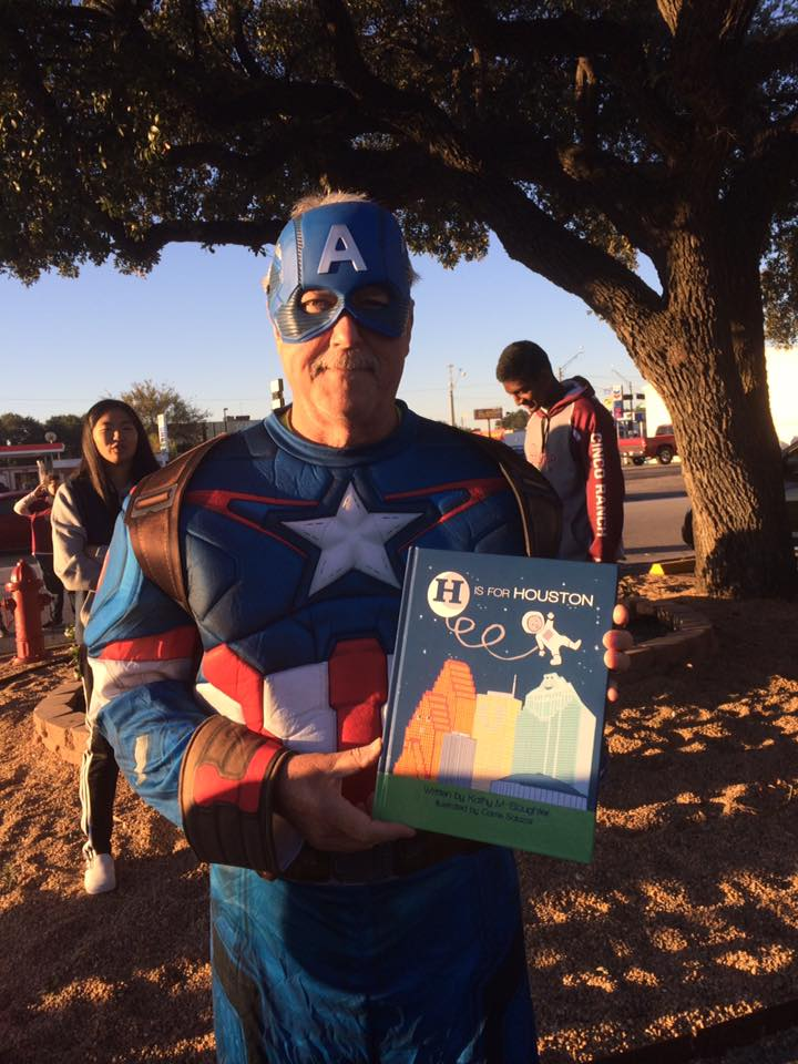 Captain America enjoys reading H is for Houston!