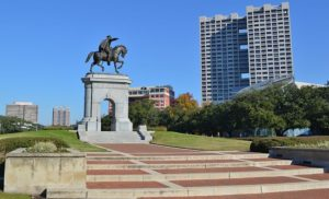 The Sam Houston Monument in Hermann Park (Creative Commons photo attribution: photo courtesy https://commons.wikimedia.org/wiki/User:Agsftw